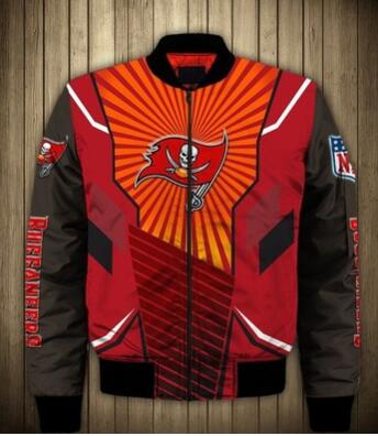Mens NFL Football Tampa Bay Buccaneers  Flying Stand Neck Coat 3D Digital Printing Customized Jackets 8