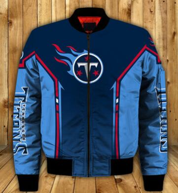 Mens NFL Football Tennessee Titans Flying Stand Neck Coat 3D Digital Printing Customized Jackets 6