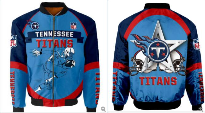 Mens NFL Football Tennessee Titans Flying Stand Neck Coat 3D Digital Printing Customized Jackets 12