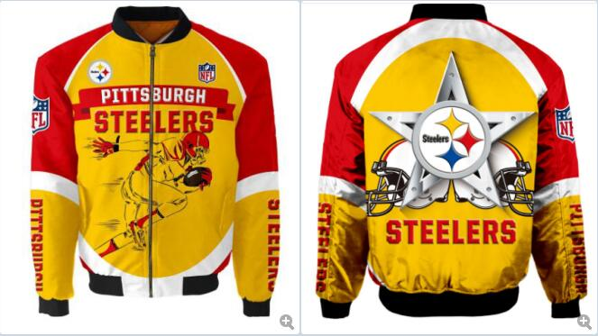 Mens NFL Football Pittsburgh Steelers Flying Stand Neck Coat 3D Digital Printing Customized Jackets 1