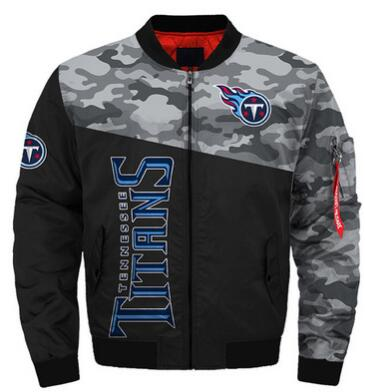 Mens NFL Football Tennessee Titans Flying Stand Neck Coat 3D Digital Printing Customized Jackets 10