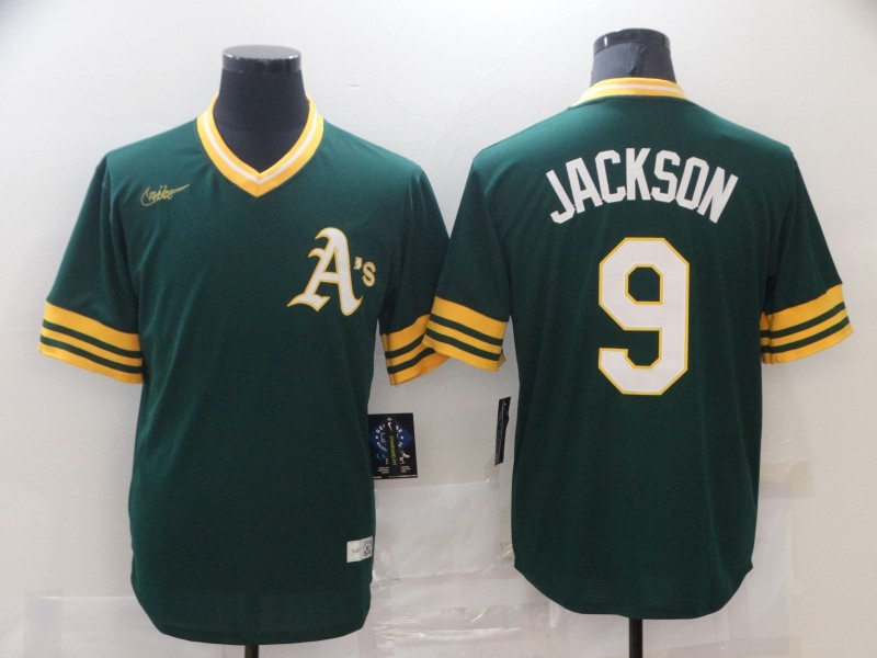 Athletics 9 Reggie Jackson Green Nike Cooperstown Collection Jersey