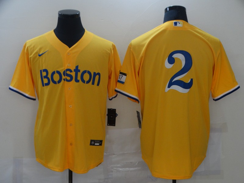 Red Sox 2 Gold Nike 2021 City Connect Replica Player Flexbase Jersey