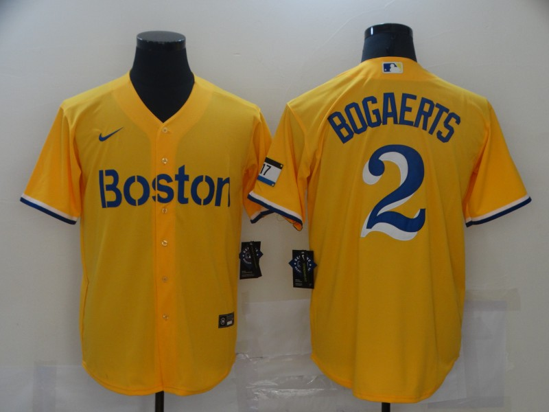 Red Sox 2 Xander Bogaerts Gold Nike 2021 City Connect Replica Player Cool Base Jersey