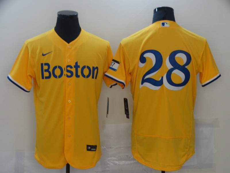 Red Sox 28 J.D. Martinez Gold Nike 2021 City Connect Replica Player Flexbase Jersey