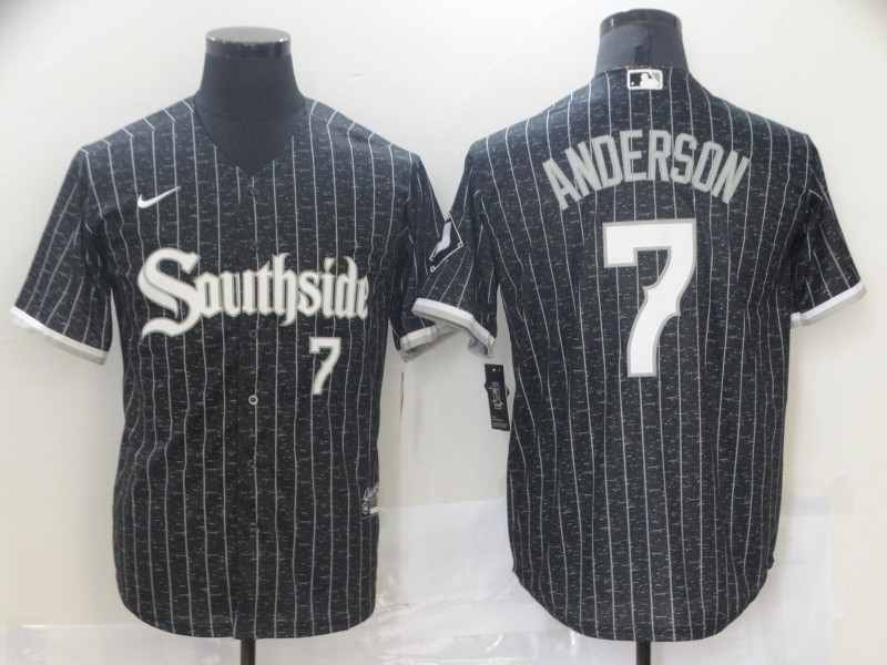 Southside White Sox 7 Tim Anderson Black 2021 City Connect Cool Base Jersey